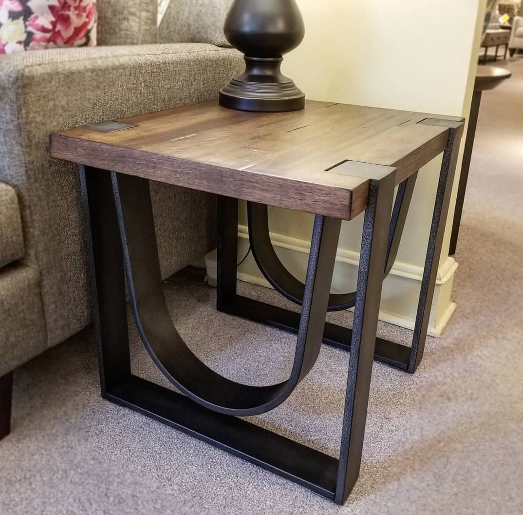 iron and wood coffee and end table