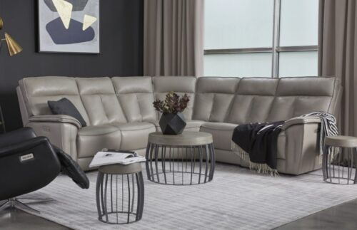 Palliser Oakley leather sectional in light gray