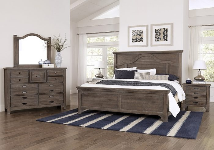 showroom set of Vaughan Bassett Bungalow Bedroom Collection made with muted brown, solid wood and