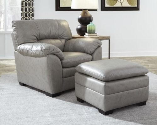 Amisk-Palliser-grey-leather-chair-ottoman-living-room-setting