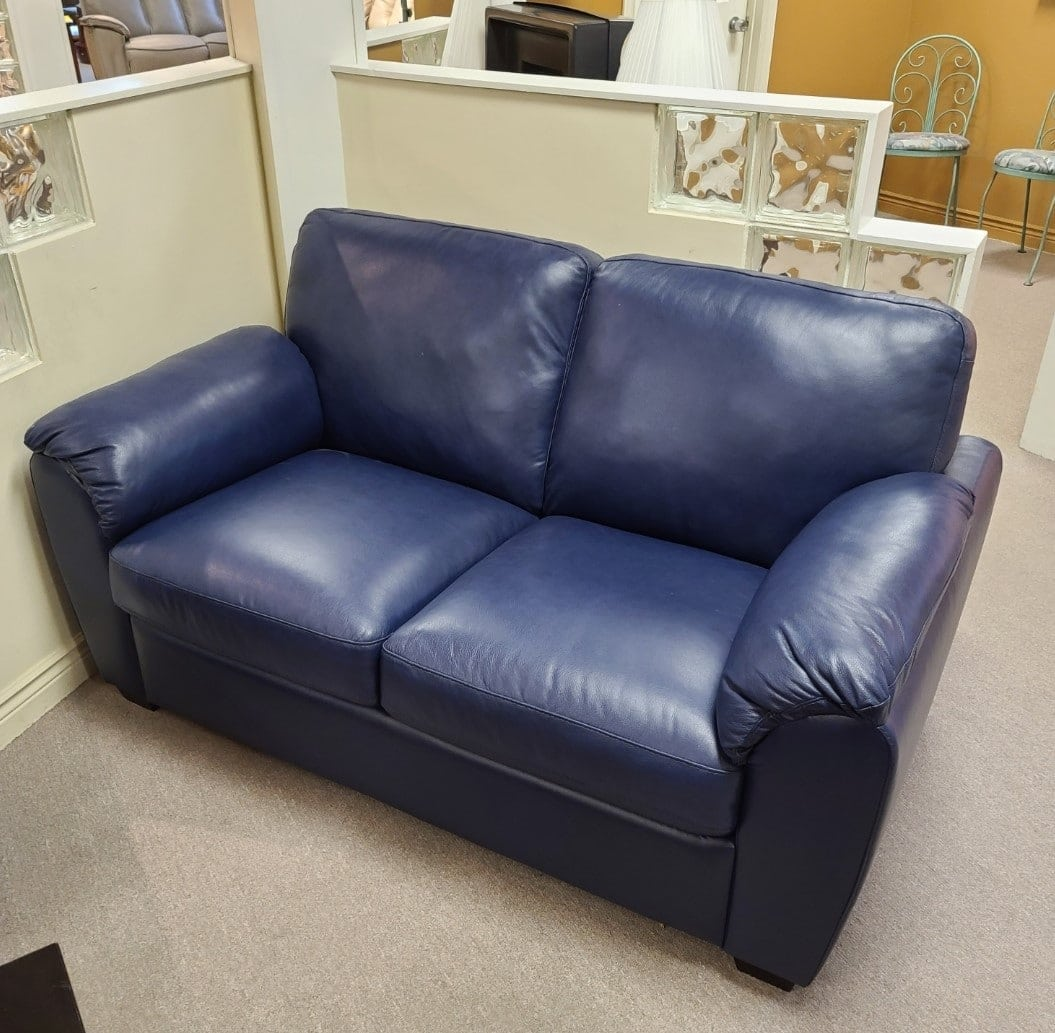 lanza-palliser-blue-leather-loveseat-product-image-in-wilson-furniture-showroom